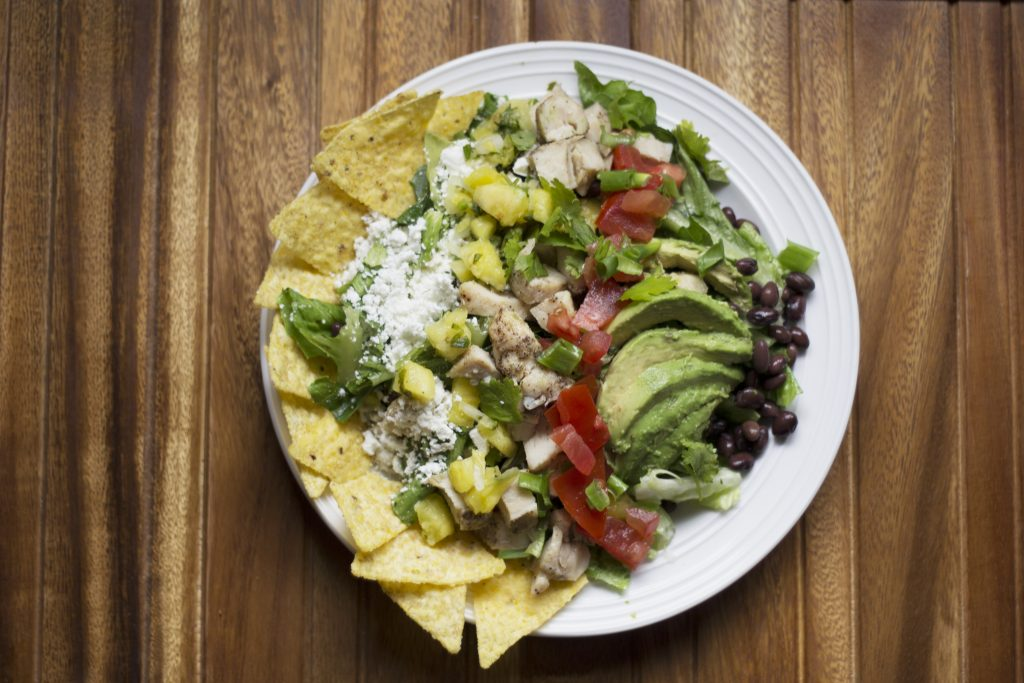 salad avocado black beans tomatoes chicken tortilla chips