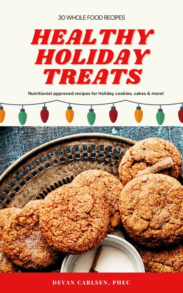 cook book cover with cookies for healthy holiday treats